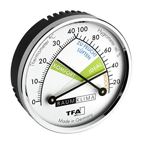 TFA Dostmann Thermo Analoges Thermometer Hygrometer mit Metallring, Luftfeuchtigkeitsmessgerät, Mehrfarbig, L71 x B23 x H71 mm